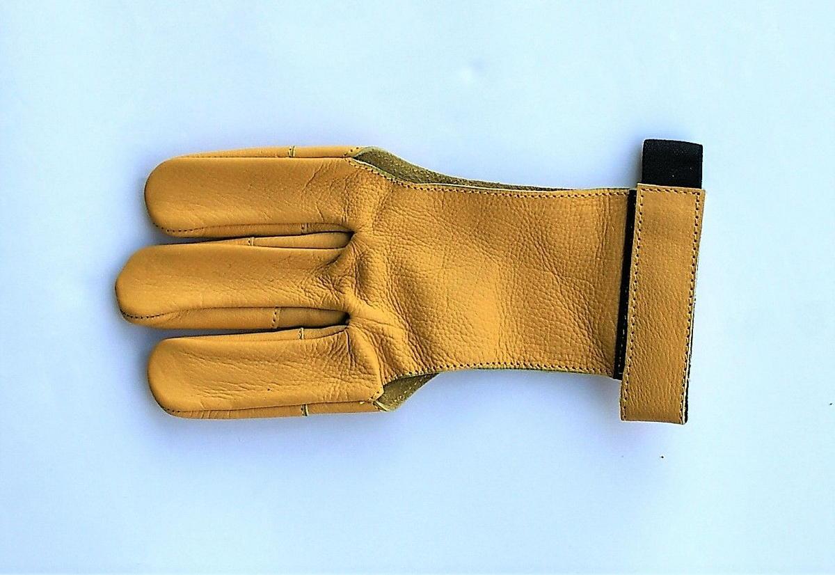Střelecká rukavice - žlutá kůže